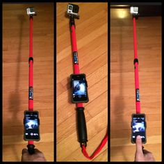 Make my own gopro pole, with iphone holder so i can control my hero4 with the gopro app.