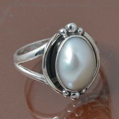 PEARL 925 STERLING SILVER RING JEWELRY 4.41g DJR7013 SIZE 6.5 #Handmade #Ring