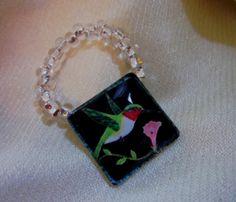Hummingbird Scarf Ring by BeadsbyJanie on Etsy, $9.00