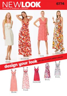 This pattern seems really versatile // Womens Design Your Look Dress Pattern 6774 New Look Patterns New Look Dress Patterns, Evening Dress Patterns, New Look Dresses, Sequin Evening Dresses, Dress Making Patterns, Summer Dresses, Maxi Dresses, Diy Clothing, Clothing Patterns