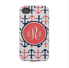 Personalized iPhone 4 Case Tough Case Coral by LoveyDoveyCreations