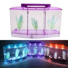 Led Light Acrylic Fish Tank 3 Compartment Small Aquarium With Plant On Ebid United States 144812101 Fish Tank Lights Small Fish Tanks Fish Tank