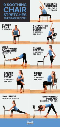 Reverse Low Back & Hip Pain with These 9 Soothing Stretches Reverse Low Back & Hip Pain with These 9 Soothing Stretches,It's all Yoga Baby If you spend all day sitting, these hip stretches. Yoga Routine, Yoga Fitness, Senior Fitness, Fitness Bike, Workout Fitness, Health Fitness, Yoga Beginners, Chair Pose, Chair Yoga Poses