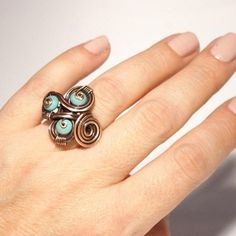 Blue stone ring turquoise ring copper turquoise ring | Etsy Copper Wire Jewelry, Copper Necklace, Copper Bracelet, Wire Wrapped Jewelry, Gemstone Jewelry, Copper Anniversary Gifts, Copper Gifts, Turquoise Rings, Healing Bracelets