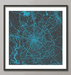 CHARLOTTE Map, North Carolina, Giclee Fine Art, Modern Abstract, Poster Print, Wall Art, Home Decor, Decoration