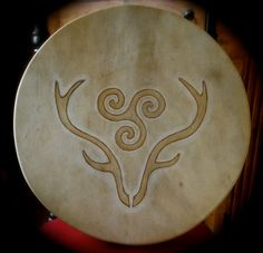 Art work for drums by ShamanicDruidry on Etsy, Cool Symbols, Celtic Symbols, Celtic Art, Hirsch Wallpaper, Spirit Art, Art Viking, Drum Lessons For Kids, Drum Tattoo, Drums Art