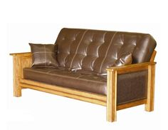 Solid Futon Bed Frame Padded Arm Design With Mattress In Distressed Oak Futon Chair, Futon Mattress, Couch, Futon Bed Frames, Living Room Chairs, Futon Ideas, Futons, Arm, Furniture