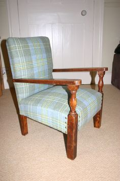 A Small Childu0027s Chair Reupholstered In A Lovely Wool Check Fabric.