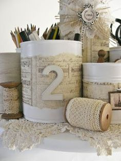 Formula cans. Paint white. *my idea-Attach to old piece of wood and use for craft storage. Paint the lids with chalkboard paint and write on them what they hold.