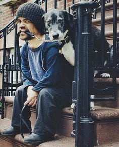 Peter Dinklage and his dog.
