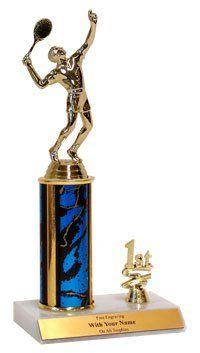 """10"""" Table Tennis Trim Trophy by QuickTrophy. $10.99. Trim trophy with a Table Tennis figurine (m or f) on a 4"""" column. Solid white marble base with slant front and trim piece of either 1st, 2nd, 3rd or year. Free engraving, 3 lines, 30 characters each."""