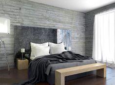 <p>Att inreda med betong i sovrummet ger en mjuk, men modern känsla. Den gråa basen matchar dessutom med det mesta.</p>