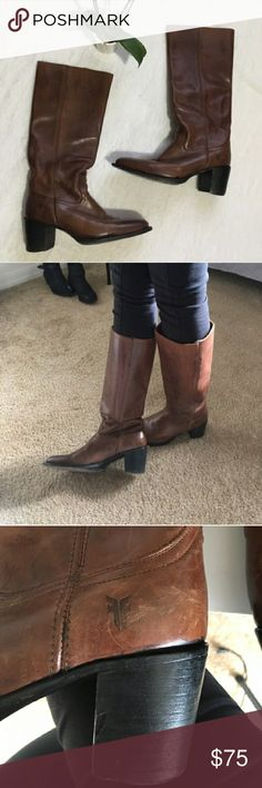"""🌹 Frye Cognac Leather Mid Calf Distressed Boots 🌹I'm currently running an additional sale. See listing at the top of my closet for details.🌹  These are in great used condition! They're genuine distressed leather! One heel has a small chunk missing, but it's not really noticeable while wearing (last pic). It's easily fixed at a shoe shop. I'd definitely keep if they fit. :( They're a light brown shade & mid calf. The calf is approx 15"""", & the heel is approx 3"""". They're very comfortable…"""
