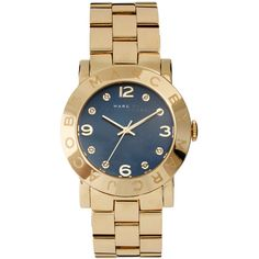 Marc By Marc Jacobs Navy Dial Watch ($295) ❤ liked on Polyvore