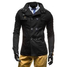 Jesenný pánsky kabát čiernej farby - fashionday.eu