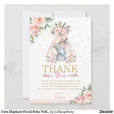 Cute Elephant Floral Boho Tribal Birthday Party Thank You Card Lollipop Party, Elephant Birthday, Girl Birthday Themes, Cute Elephant, Custom Thank You Cards, My Favorite Part, Zazzle Invitations, Paper Texture, Your Cards