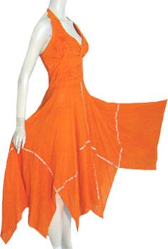 Orange Cotton Mexican Halter Dress