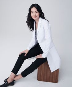 The Vandi Element is an ultra modern, slimming women's lab coat with unique seaming for a sporty look. Shop Medelita for athletic fit white lab coats for women. White Coat Outfit, White Lab Coat, Doctor White Coat, Coats For Women, Clothes For Women, Work Clothes, Lab Coats, Medical Uniforms, Female Doctor