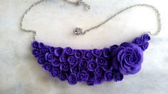 Purple flower Necklace Purple rose ring Purple by jewelryfoodclay