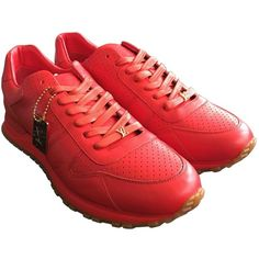 Pre-owned Louis Vuitton X Supreme Leather Low Trainers (6.080 RON) ❤ liked on Polyvore featuring men's fashion, men's shoes, men's sneakers, men shoes trainers, red, mens red shoes, mens leather sneakers, mens red leather shoes, mens red sneakers and mens sneakers