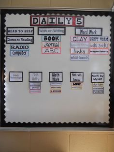 This looks like a great board for Daily 5 Reading and Math. This blogs has some great Daily 5 organization pics I want to check out.