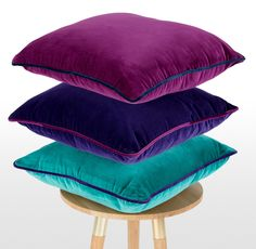 Mya Cotton Velvet Cushion x Plum with Purple Piping Mya is available in three colours, so you can mix and match the set with other cushions. They look beautiful against purples, teals and deep neutral tones. Purple Cushions, Velvet Cushions, Living Room Decor, Bedroom Decor, Jewel Colors, Jewel Tones, Cotton Velvet, Colour Schemes, Soft Furnishings