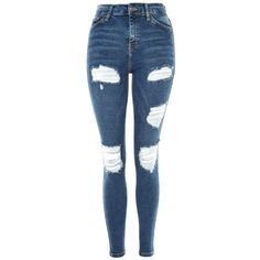 Topshop Moto Indigo Super Ripped Jamie Jeans (1,115 MXN) ❤ liked on Polyvore featuring jeans, indigo, high-waisted jeans, blue ripped skinny jeans, blue skinny jeans, high waisted ripped jeans and skinny jeans