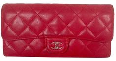 Chanel Caviar Quilted Long Flap Wallet in Red