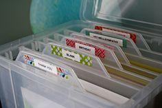 Organize greeting cards!  Home organization, office organization, home office, organize cards