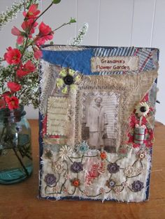 Happy Easter everyone. It is a beautiful day here. So many people out in their yards with the kids, hunting eggs and enjoying BBQ's. Fabric Books, Fabric Journals, Vintage Theme, Vintage Books, Grandmas Garden, Happy Easter Everyone, Thread Art, Vintage Fabrics, Mini Books