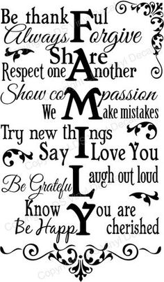 FAMILY Be thankful Always Forgive Share Respect one Another... : Vinyl Wall Art, Phrases, and Words - Custom Vinyl Lettering, - LDS Vinyl Decals