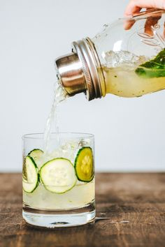 The Cucumber Rickey: line the glass with cucumbers and fill with ice for a beautiful cocktail presentation