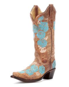 Corral Women's Cognac/Turquoise Roses Embroidery Boot - R1172