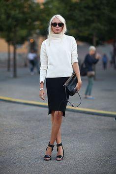 fall outfits womens fashion clothes style apparel clothing closet ideas white cardigan black skirt purse sunglasses street