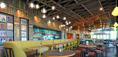 Nando's Beckton, ft. #reclaimed #timber & an #upcycled #scaffold #ceiling #raft    #Interior #Refurbishment by Cumberland Group, Interior Contractor, UK    #restaurant #interiorcontractor #interiorcontractors #interiorrefurbishment #interiorarchitecture #joinery #interiordesign #restaurantdesign #ceiling #lighting #dining #Nandos