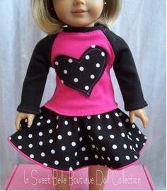 Long Sleeve Heart appliqued Tee  Polka-dot Twirl Skirt