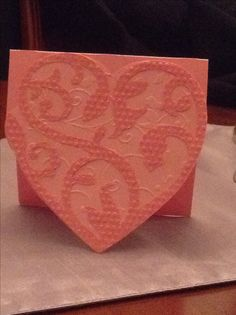 Cricut damask decor valentine, cuttlebug embossed