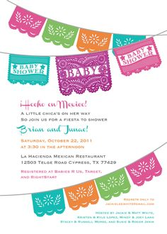 Papel Picado Baby Shower Invitation for a Boy or Girl - Gender neutral colors - I design, you print