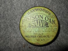 VINTAGE HAYWOOD'S POISON OAK SALVE ADVERTISING TIN CAN*PFEIFFER CHEMICAL  #HAYWOODSPOISONOAKSALVE