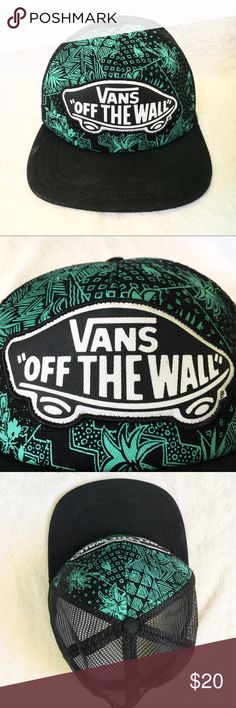 Vans Mesh and Tropical Baseball Hat Teal and Black tropical print Mesh backing  Lightly worn Good Shape! Vans Accessories Hats