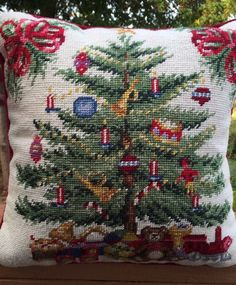Needlepoint Pillow Christmas Tree 14 X 14 Inches Wool & Form #Unbranded