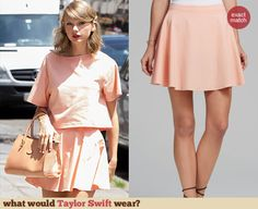 Peach cropped tee and matching skirt Peach Skirt, Taylor Swift Style, Crop Tee, Skater Skirt, Celebs, Style Inspiration, Skirts, Books, How To Wear