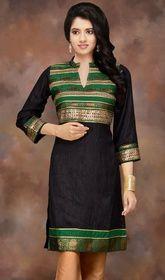 Black Silk Three Quarter Sleeve Gota Appliqued Kurti Silk Kurti Designs, Kurta Designs Women, Kurti Designs Party Wear, Blouse Designs, Dress Indian Style, Indian Dresses, Indian Outfits, Saree Gown, Sari Dress