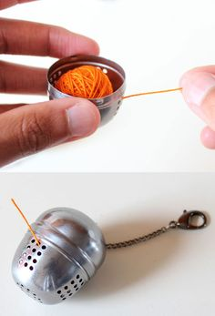 If you are working on a small project, store thin yarn in a tea infuser for safekeeping while traveling. - DUH now I know what to do for those few balls of DMC tatting thread I have left.