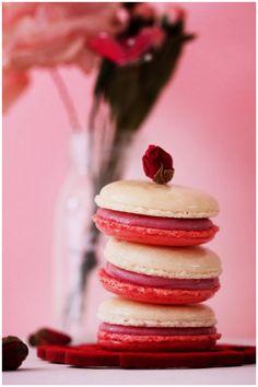 Raspberry rose macarons