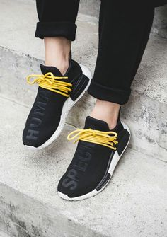nmd human race black on feet