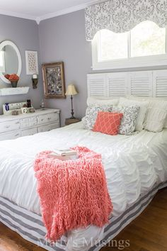Grey and Coral Bedroom Makeover - Marty's Musings = one gorgeous room. Check out that shutter headboard!
