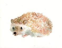 HEDGEHOG Original watercolor painting 10x8inch