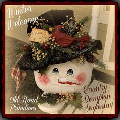 Prim Winter Welcome Country Bumpkin Snowman Christmas e-Pattern