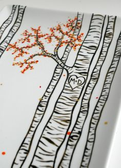 Birch Trees Hand Painted Personalized Platter... diy